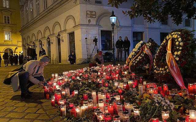 Vienna mourns. In the aftermath of the shooting on November 2, 2020, that killed at least 4, and injured 24. (courtesy, Edward Serotta)