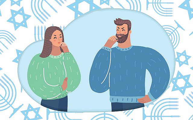 A Jewish woman and an Argentine man ponder life's big questions. (Design by Emily Burack; original illustrations via cosmaa/Getty Images and Andrii Vinnikov/Getty Images)