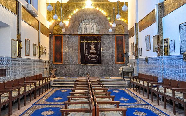 An inside view of the Lazama Synagogue, the oldest synagogue in the mellah of Marrakech. (Michal Shmulovich)
