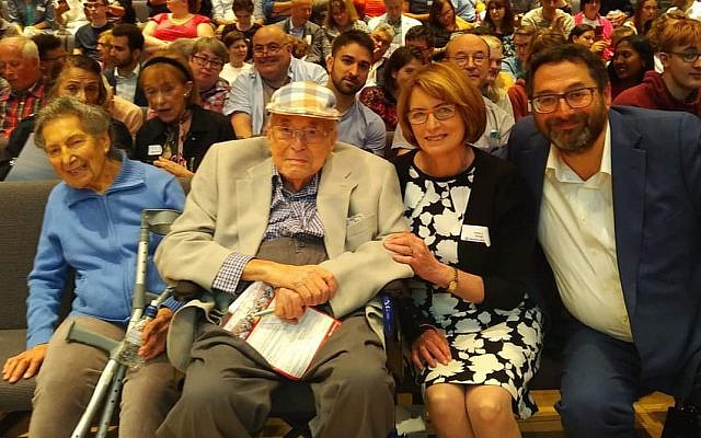 Lawrie Nerva with wife Ruby, (left) Dame Louise Ellman and Adrian Cohen (Credit: Adrian Cohen)