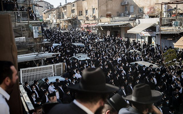 Ultra orthodox jewish man attend the funeral of late Rabbi Aharon David Hadash, spiritual leader of the Mir Yeshiva, on December 3, 2020, in Jerusalem. Photo by Yonatan Sindel/Flash90