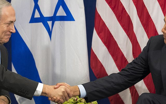 """(L to R) Prime Minister of Israel Benjamin Netanyahu shakes hands with United States President Barack Obama during a bilateral meeting at the Lotte New York Palace Hotel, September 21, 2016 in New York City. Last week, Israel and the United States agreed to a $38 billion, 10-year aid package for Israel. Obama is expected to discuss the need for a """"two-state solution"""" for the Israeli-Palestinian conflict.  Credit: Drew Angerer / Pool via CNP /MediaPunch/IPX"""