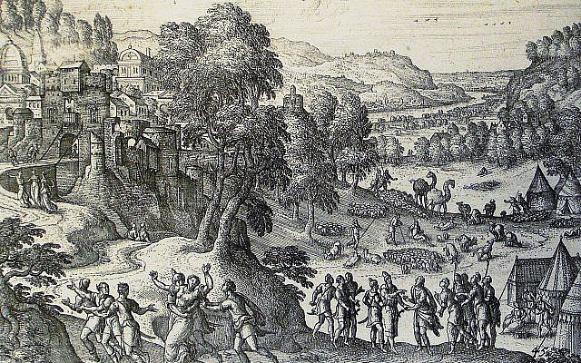 'Dinah and Shechem,' in the collection of Revd. Philip De Vere at St. George's Court, Kidderminster, England. (The Phillip Medhurst Picture Torah 170, Wikimedia Commons)