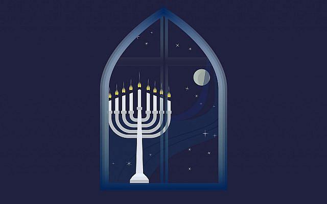 A Hanukkah menorah lit at night (Getty Images)