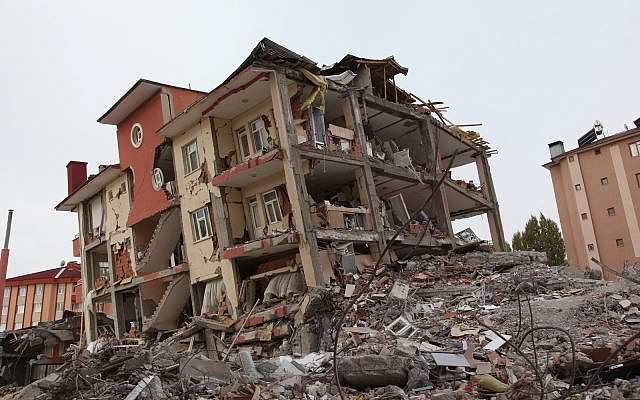 Apartment building in Van, Turkey following an earthquake. (Stock)
