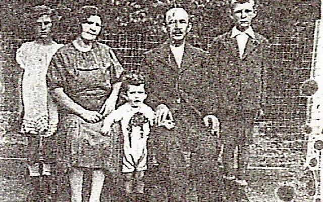 """This is the only surviving picture of my grandmother's family from before the Holocaust. From left to right: Eva Goldstein Malka, her mother Rosa, her younger brother Andre, her father Gabriel and her older brother Gyuri. Rosa and Andre were murdered at Auschwitz ז""""ל."""