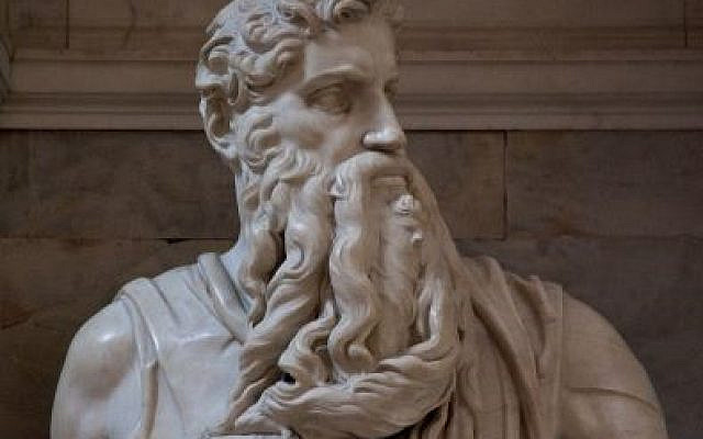 Moses by Michelangelo Buonarroti commissioned by Pope Julius II in 1505 for the Church of San Pietro.  Image purchased on alamy.com