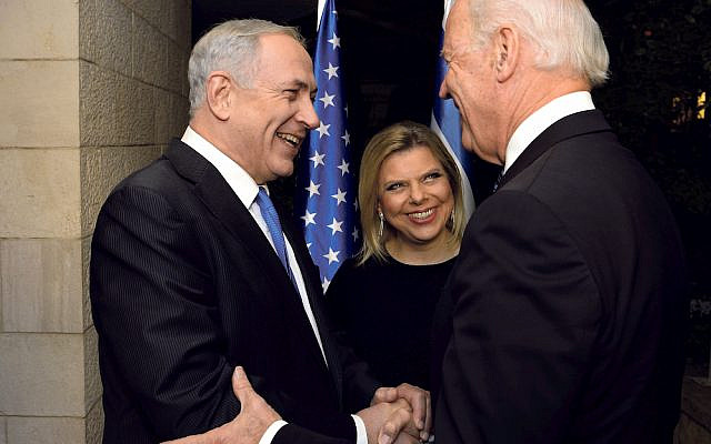 Joe Biden is greeted by Israeli Prime Minister Benjamin Netanyahu and his wife, Mrs. Sara Netanyahu. January 13, 2013. (Photo By Matty Stern/State Department/Sipa USA via Jewish News)