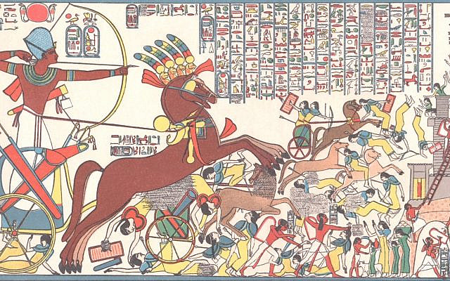 Color reproduction of the relief depicting Ramesses II storming the Hittite fortress of Dapur, 1879. (Wikipedia)
