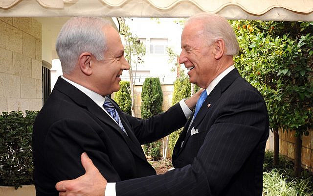 Prime Minister Benjamin Netanyahu meets then-vice president of the United States Joe Biden, in Jerusalem. (Avi Ohayon Government Press Office)