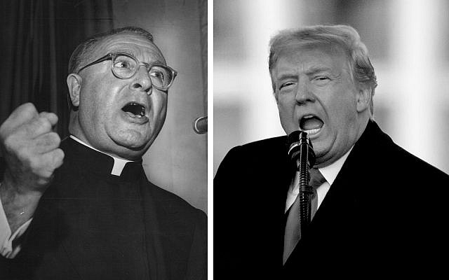 On left, Father Charles Coughlin (PD) and on right, President Donald Trump speaks during a rally protesting the electoral college certification of Joe Biden as President, Wednesday, Jan. 6, 2021, in Washington. (AP Photo/Evan Vucci)