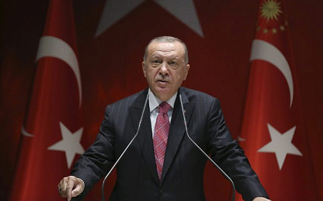 Turkey's President Recep Tayyip Erdogan (Turkish Presidency via AP, Pool)