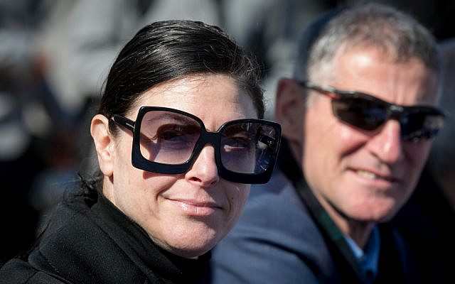 Labor party MK Merav Michaeli seen during a special meeting of the Labor-Gesher and Meretz factions outside the Supreme Court in Jerusalem, January 20, 2020. (Olivier Fitoussi/Flash90)