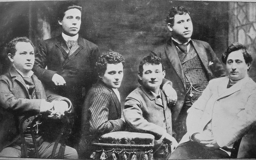 Yiddish theater members, from right, Jacob Adler, Zigmund Feinman, Zigmund Mogulesko, Rudolf Marx, Mr. Krastoshinsky and David Kessler in 1888. (Wikimedia Commons)