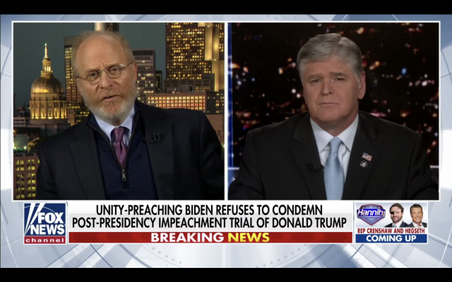 Trump impeachment attorney David Schoen (L) on 'Hannity' on Fox News, February 2, 2021 (Screen capture)