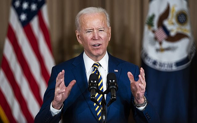 US President Joe Biden makes a foreign policy speech at the State Department in Washington, DC, USA, 04 February 2021.Biden announced that he is ending US support for the Saudi's offensive operations in Yemen.