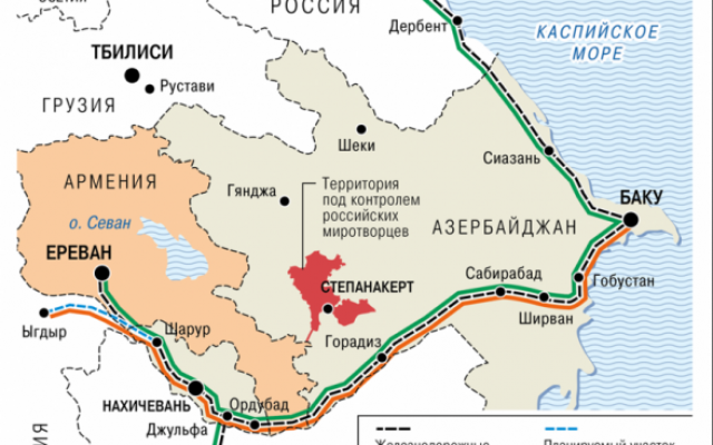Kommersant.ru has published this map (13/1/2021) showing the prospective road and rail links that will be opened between Armenia and Azerbaijan, linking Armenia to Russia and Azerbaijan to Turkey.