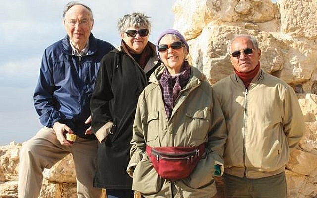 The late Hershel Shanks with Susan Laden, Suzanne F. Singer and Jordanian archaeologist Mohammad Najjar stand on a Herodian staircase at Machaerus in Jordan. (Gyozo Vörös, courtesy Hershel Shanks)