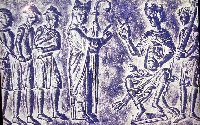 A Jewish slave trader being presented to Boleslas of Bohemia, at an exhibit at the Diaspora Museum, Tel Aviv. (Wikipedia)