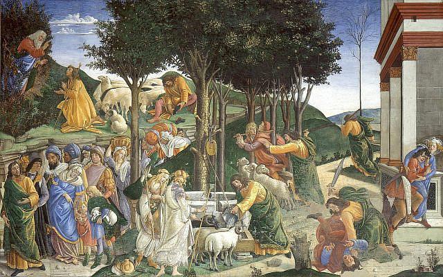 Eventos de la vida de Moises ('The Trial of Moses'), by Sandro Botticelli, in 1481-2. (Wikipedia)