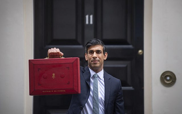 Chancellor of the Exchequer, Rishi Sunak outside 11 Downing Street, London, before heading to the House of Commons to deliver his Budget. Picture date: Wednesday March 3, 2021. (Jewish News)