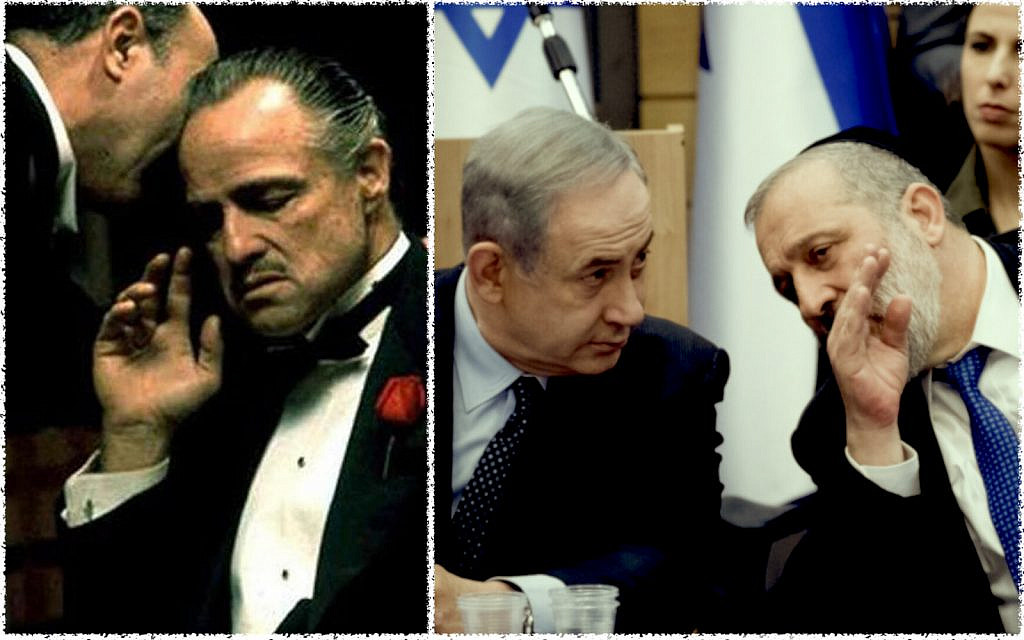 On left: Still from the 1972 movie, The Godfather. Photo on right: Prime Minister Benjamin Netanyahu with Shas party chairman Interior Minister Aryeh Deri, March 4, 2020. (Yonatan Sindel/Flash90). Collage by The Times of Israel.
