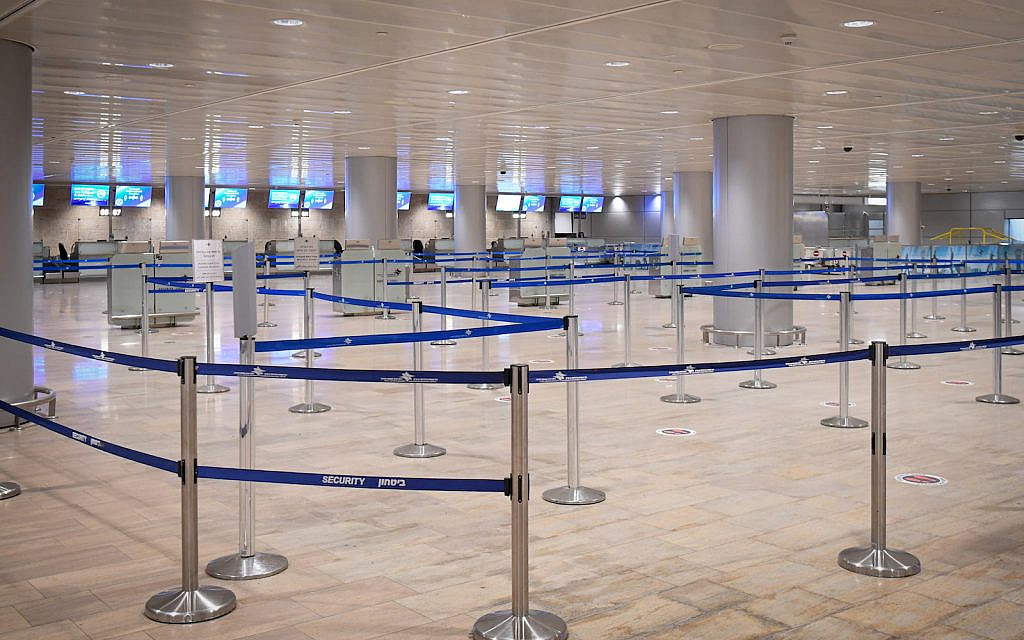 Ben Gurion International Airport, almost empty, on January 24, 2021. (Flash90)