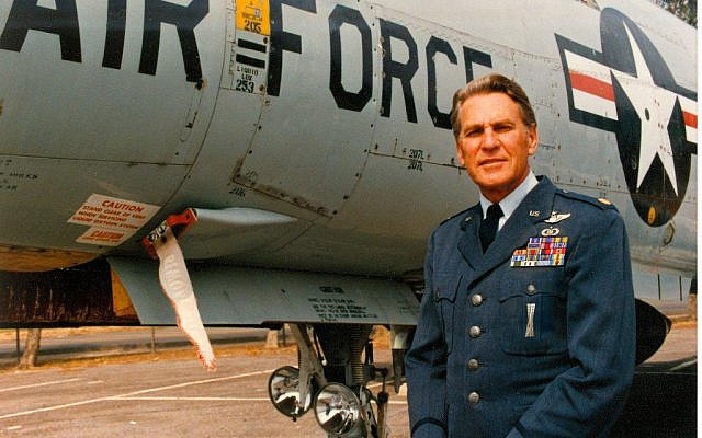 US Air Force Officer, Senior Pilot, Cecil Davis, beside an F-101 Voodoo at March Air Force Base, California, at full retirement and commencement of pension, 1984