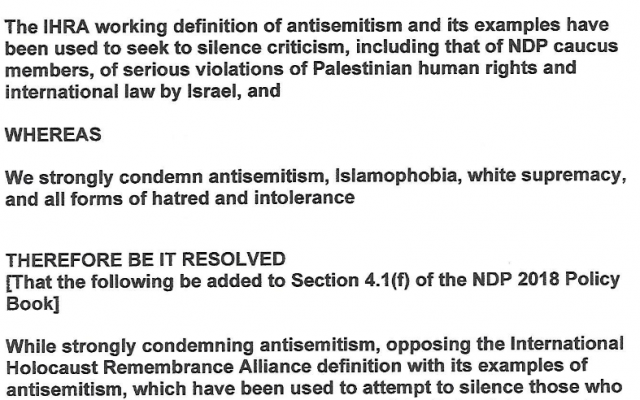 Resolution to NDP Convention
