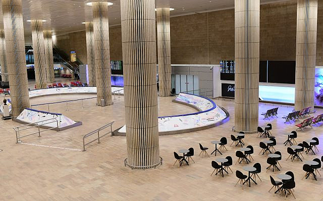 The empty arrival hall at the Ben Gurion International Airport near Tel Aviv on February 3, 2021. (Tomer Neuberg/Flash90)