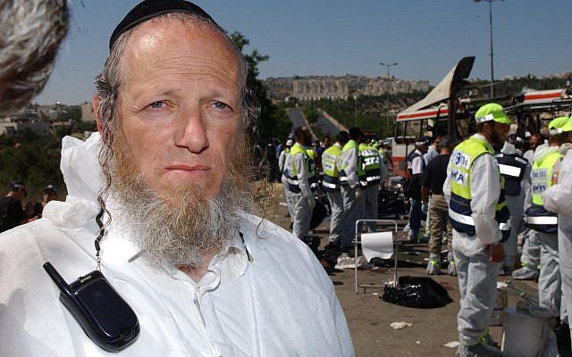 Yehuda Meshi Zahav, head of Israel's Zaka rescue unit, at the scene of a suicide bombing. (Flash90/File)