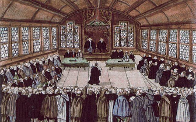 Deutsch: Darstellung der ersten Zürcher Disputation von 1523 in einer Abschrift von Bullingers Reformationsgeschichte. Unknown artist. (Public domain)