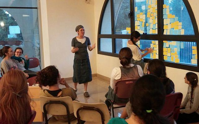 Teaching the students of Midreshet Afikim in 2015. (courtesy)