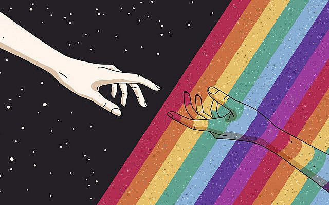 "God reaching out to an LGBTQ person in the style of Michelangelo's ""The Creation of Adam."" (Getty Images)"