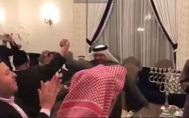 Jews and sheikhs celebrate Hanukkah in Bahrain, December 24, 2016. (Screen capture: YouTube)