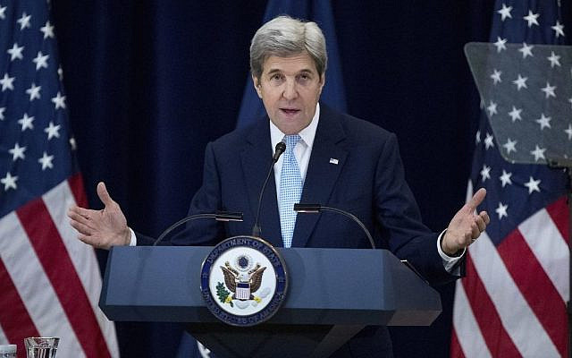 Senator John Kerry giving his farewell address as Secretary of State (Via Jewish News)