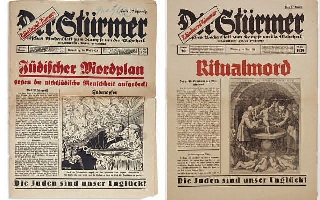 The June 1934 edition of Der Sturmer, with a later 1939 edition depicting 'Ritual Murder.' (courtesy)