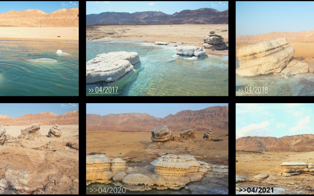The Dead Sea in 5-year time-lapse, (Noam Bedein)