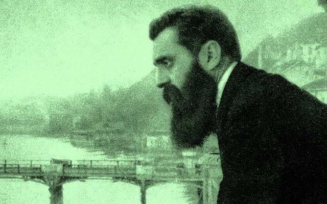 Theodor Herzl on the balcony of the Hotel Les Trois Rois in Basel, Switzerland, 1897. (CC-PD-Mark, by Wikigamad, Wikimedia Commons)