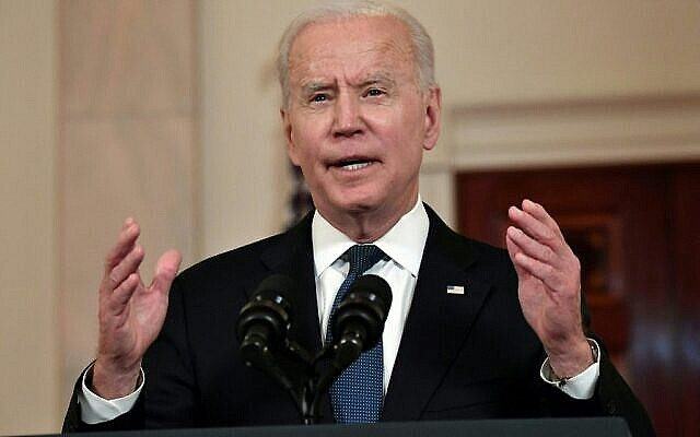US President Joe Biden delivers remarks on the Middle East in the Cross Hall of the White House, in Washington, DC on May 20, 2021. - Israel and the two main Palestinian armed groups in Gaza, Hamas and Islamic Jihad, announced a ceasefire on May 20, 2021 aimed to end the most devastating conflict between them for seven years. (Photo by Nicholas Kamm / AFP)
