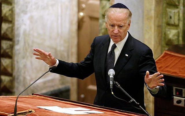 U.S. Vice President Joe Biden speaks during the funeral for U.S. Sen Frank Lautenberg, in New York's Park Avenue Synagogue, Wednesday, June 5, 2013. (AP Photo/Richard Drew, Pool)