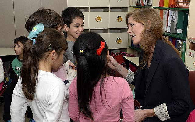 U.S. Ambassador to the UN Samantha Power toured the Max Rayne Bilingual Hand in Hand school in Jerusalem, where she visited the first-grade classroom targeted by arsonists in November 2014 and engaged with students and faculty Monday, February 15, 2016.