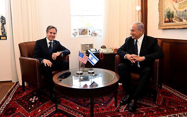 Prime Minister Benjamin Netanyahu, right, meets US Secretary of State Antony Blinken in his office in Jerusalem, May 25, 2021. (Matty Stern/US Embassy Jerusalem)
