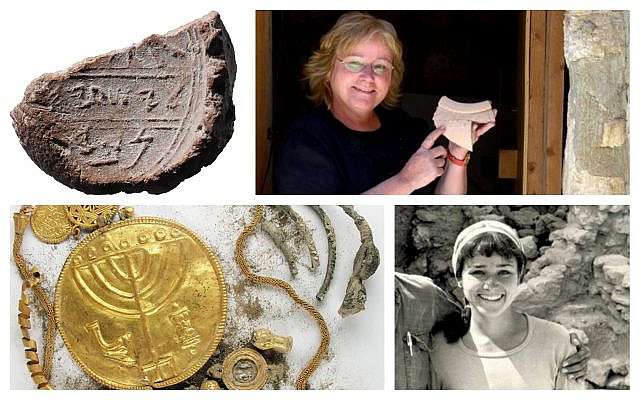 Archaeologist Dr. Eilat Mazar and several of her prominent finds. (Hebrew University/ Ouria Tadmor)