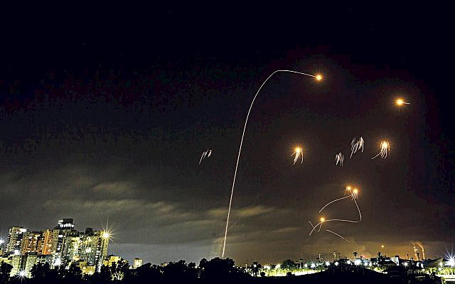 A long exposure picture shows iron dome anti-missile system fires interception missiles as rockets fired from the Gaza Strip to Israel, as it seen from the southern Israeli city of Ashkelon, May 10, 2021. Photo by Edi Israel/Flash90 - via Jewish News