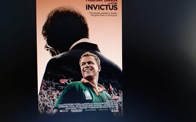 Nelson Mandela gets much credit for motivating the South African Rugby team to victory in the 1995 Rugby World Cup played in Johannesburg. Mandela had been elected President and he used his influence to bring whites and blacks together. Invictus is the story of how Nelson Mandela met that challenge, Poster design by The Cimarron Group - Fair Use                                        Poster design by The Cimarron Group - Fair Use