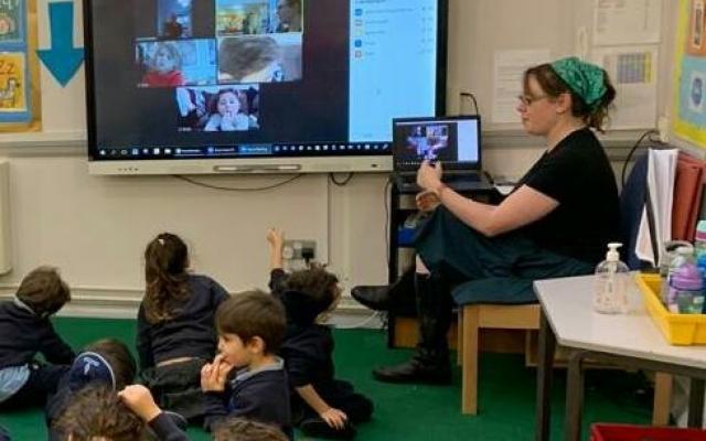 A Jewish Studies hybrid classroom in Hertfordshire, England.