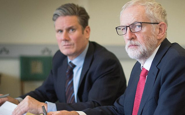Sir Keir Starmer (left) alongside former Labour leader Jeremy Corbyn (centre) (Via Jewish News)