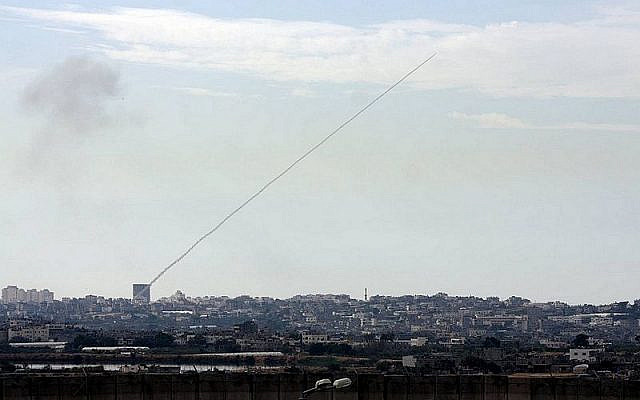 Photo: Wikipedia A rocket fired from a civilian area in Gaza towards civilian areas in Southern Israel