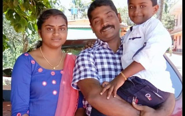 Soumya Santosh, and family. Santosh was killed by a Hamas-sent rocket, when she and the woman she took care of failed to make it to the shelter in time. (Twitter)